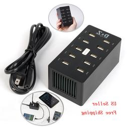 10 Port USB Universal Charging Station Charger For Cell Phon