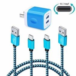 1X Wall Charger Ailkin Dual Port Charger Cube w/2 Pcs 6FT Ty