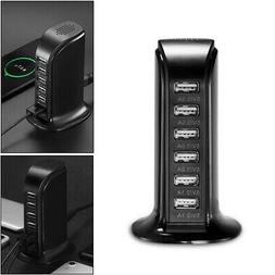 2.0 USB Rapid Wall Charger 6 PORT CHARGING STATION Cell Phon