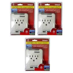 2 AC Outlet Wall Charger Adapter w Dual 2 USB Charging Port