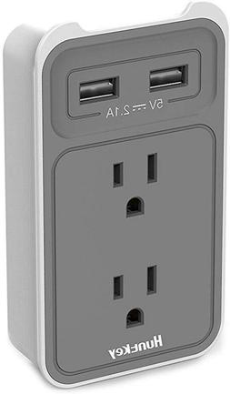 Huntkey 2-Outlet Wall Mount Cradle with Dual 2.1 AMP USB Cha