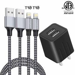 2 Pack 6FT Phone Charger Cord Cable USB Wall Charger Dual Po