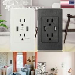 Dual USB Wall Outlet Charger Port Socket with 15A Electrical