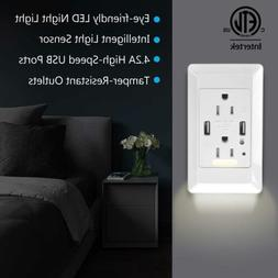 2 USB Ports 4.2A Smart Fast Charging Socket Wall Outlet with