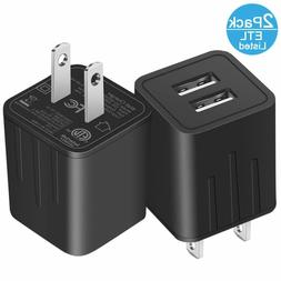2PC Wall Charger Fast Dual Port Travel Phone AC Adapter Bloc