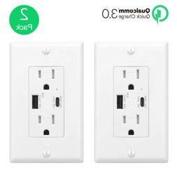 2PK 5.8A Type-C USB Charger QC 3.0 Quick Charge Outlet Wall
