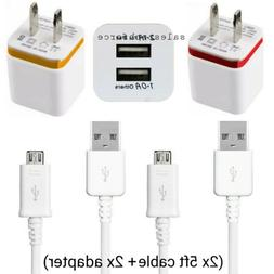 2X Rapid Fast Wall Charger +2X Micro USB Cable Cord For Sams