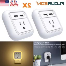 2X Wall Mount Dual USB Phone Charger For Cell Phone US Plug