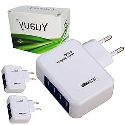 Yuauy 2 PCs 3.1A 4 Ports USB Portable Home Travel Wall Charg
