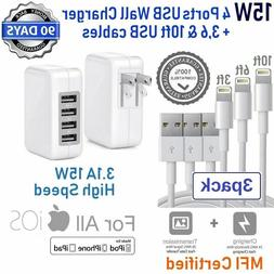 3,6,10ft USB Cable + 12W 15W 4-USB Cube Wall Charger For App