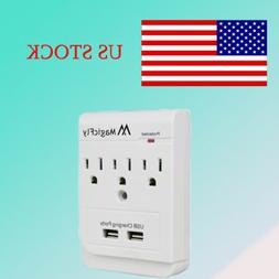 3 Outlet Socket Adapter Wall Mount Surge Protector 2-Port US