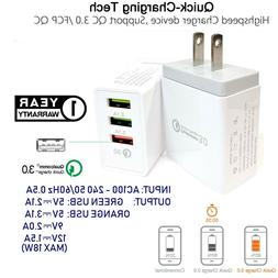 3-USB Ports Quick Fast Wall Charger Qualcomm QC 3.0 18W Cube