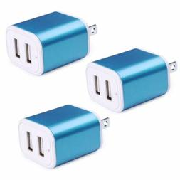 3 x Portable Travel Charging Brick Power Adapter  2.1A Dual
