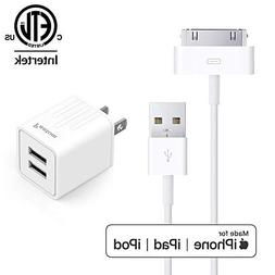 Pantom, 30-Pin Cable and 2.1A Dual USB Port Wall Charger Com