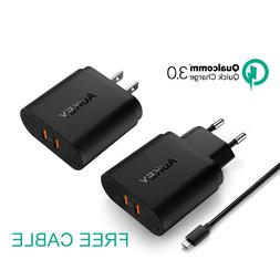 AUKEY 36W Dual USB Port  Travel Charger With Qualcomm Quick
