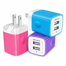 3Pack AILKIN Fold Wall Charger, USB Charging Plug, AC Adapte