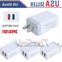 3Pack Wall Charger USB Plug Dual Port 2.4A 5V Charging Block