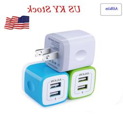 3Pcs Ailkin 2 Ports USB Phone Charger 2.1A 5V Wall Charger T