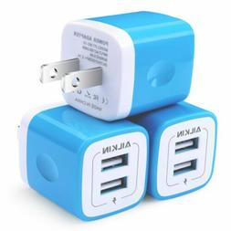 3x Ailkin Wall Charger Dual USB 2-Port AC 5V/2.1A for iPhone