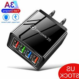 4 Port Fast Quick Charge QC 3.0 USB Hub Wall Charger Power A