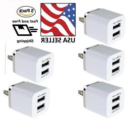 5 pack dual usb wall charger 2100ma