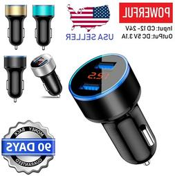 5V 3.1A 2 Port USB Car Charger Dual LCD Display For iPhone,