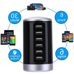 6 Port USB Hub Charger Charging Dock Station Wall Charger fo