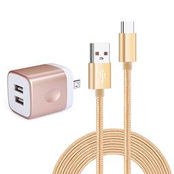 6FT USB Type-C Cable with Adaptive Fast Wall Charger, Kakaly