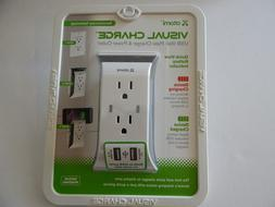 Atomi - USB Wall Plate Charger/Power Outlet - White