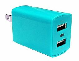 Dual USB 2.1A Travel Wall Charger Adapter - Blue