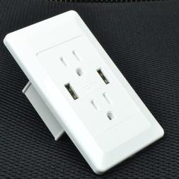 Electrical Wall Outlet with USB Charger 15A Receptacle White