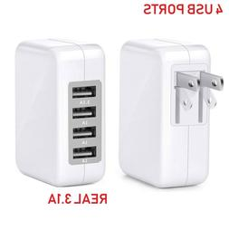 Fast 3.1A 15W High Speed 4 Port USB Wall Charger Portable fo
