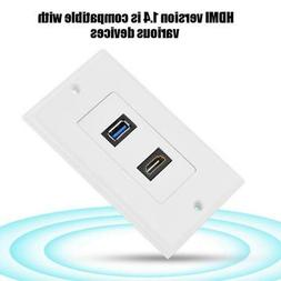 HDMI & USB 3.0 Wall Plate Charger Outlet Mount Audio Video S