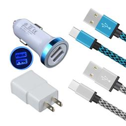 LED Car Adapter + Wall Charger+ 2x Cable For Samsung Galaxy