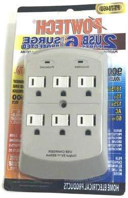 New 6 port Wall power outlet 2 USB ports charger Surge prote