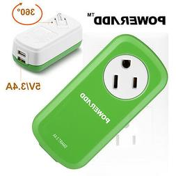 Poweradd Portable 360°Swivel Outlet Surge Protector with 2