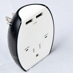 USB Wall Charger 2-Port Outlet Socket Adapter with Wall Moun
