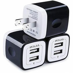 USB Wall Charger, Charger Adapter, Ailkin 3-Pack 2.1Amp Dual