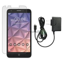 Wall Charger+LCD Screen Protector for Android Phone Alcatel
