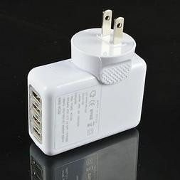 White 2.1A 4 Port USB Portable Home Travel Wall Charger US A