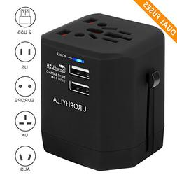 Travel Adapter,UROPHYLLA Universal European Adapter Dual Fus
