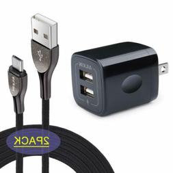 Ailkin Fast Wall Charger Adapter 2Pcs Android Micro USB Cabl
