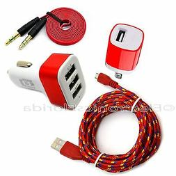 Car and Wall Charger Plus Audio & Micro USB Braided Cord Cab