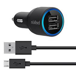 Belkin 2-Port Car Charger with 4-Foot Micro USB Cable-Retail