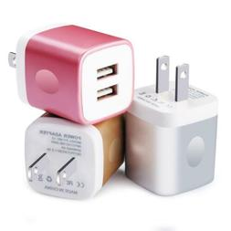 Charging Adapter Plug Cube, Kakaly 3PC Dual USB 2.1A Wall Ch