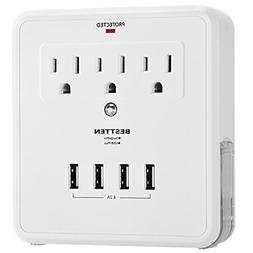 Bestten Charging Center-Wall Mount Surge Protector with 4.2A