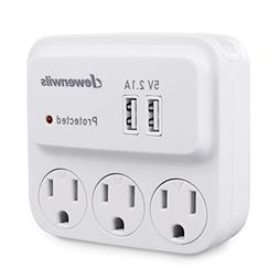 dewenwils outlets wall adapter surge protector tap usb ports