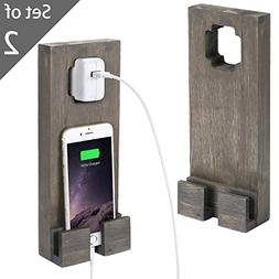 MyGift Distress Gray Wooden Wall Socket-Hanging Smartphone C