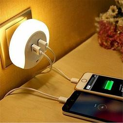 Dual USB Wall Charger LED Night Light US Plug in Dusk to Daw