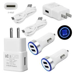 Fast Cell Phone Charger Car & Wall Adapter Type-C Cable for